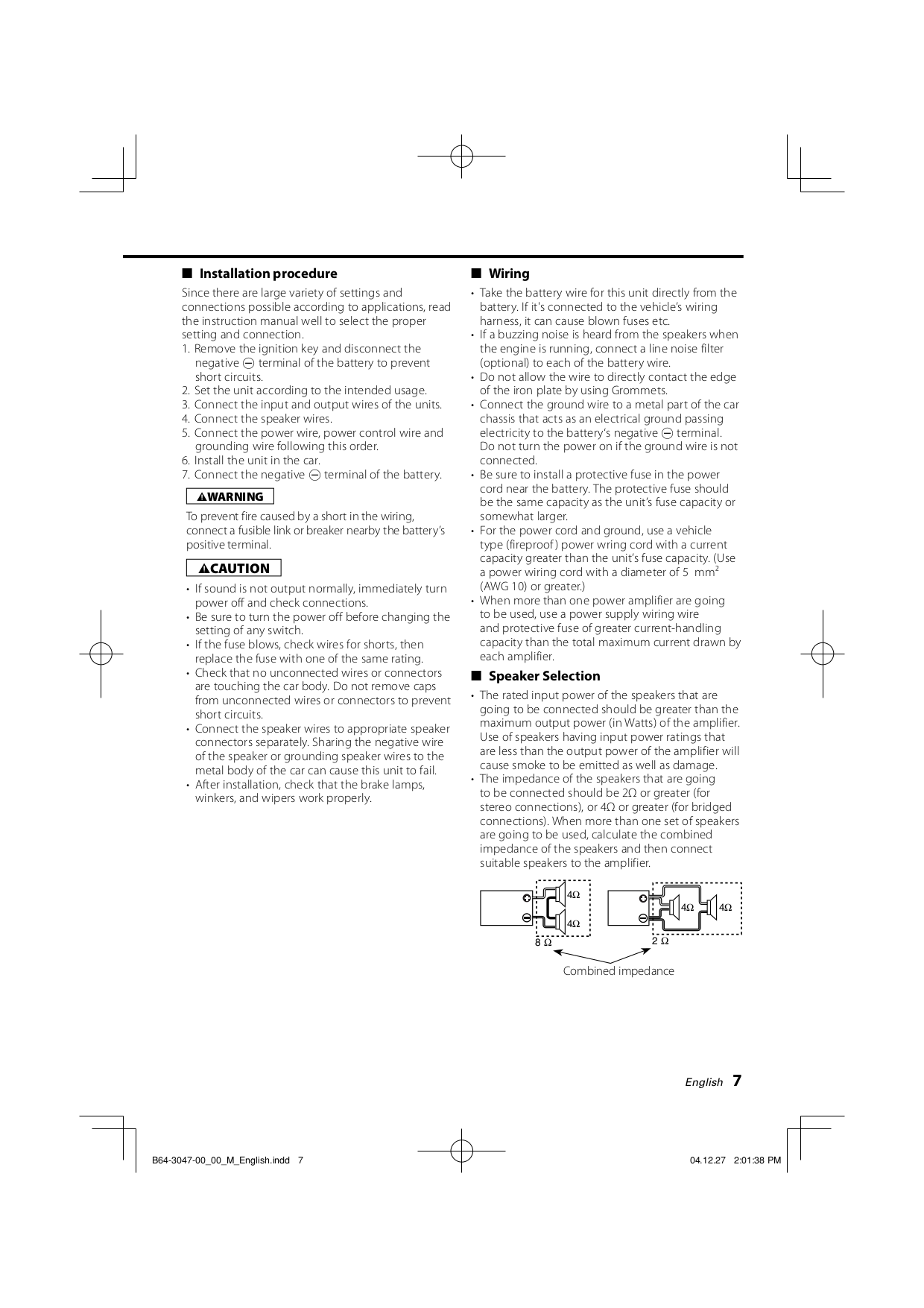 ... Kenwood Car Amplifier KAC-6402 pdf page preview ...