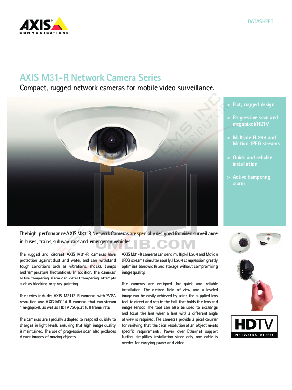 pdf for Axis Security Camera M3113-VE manual