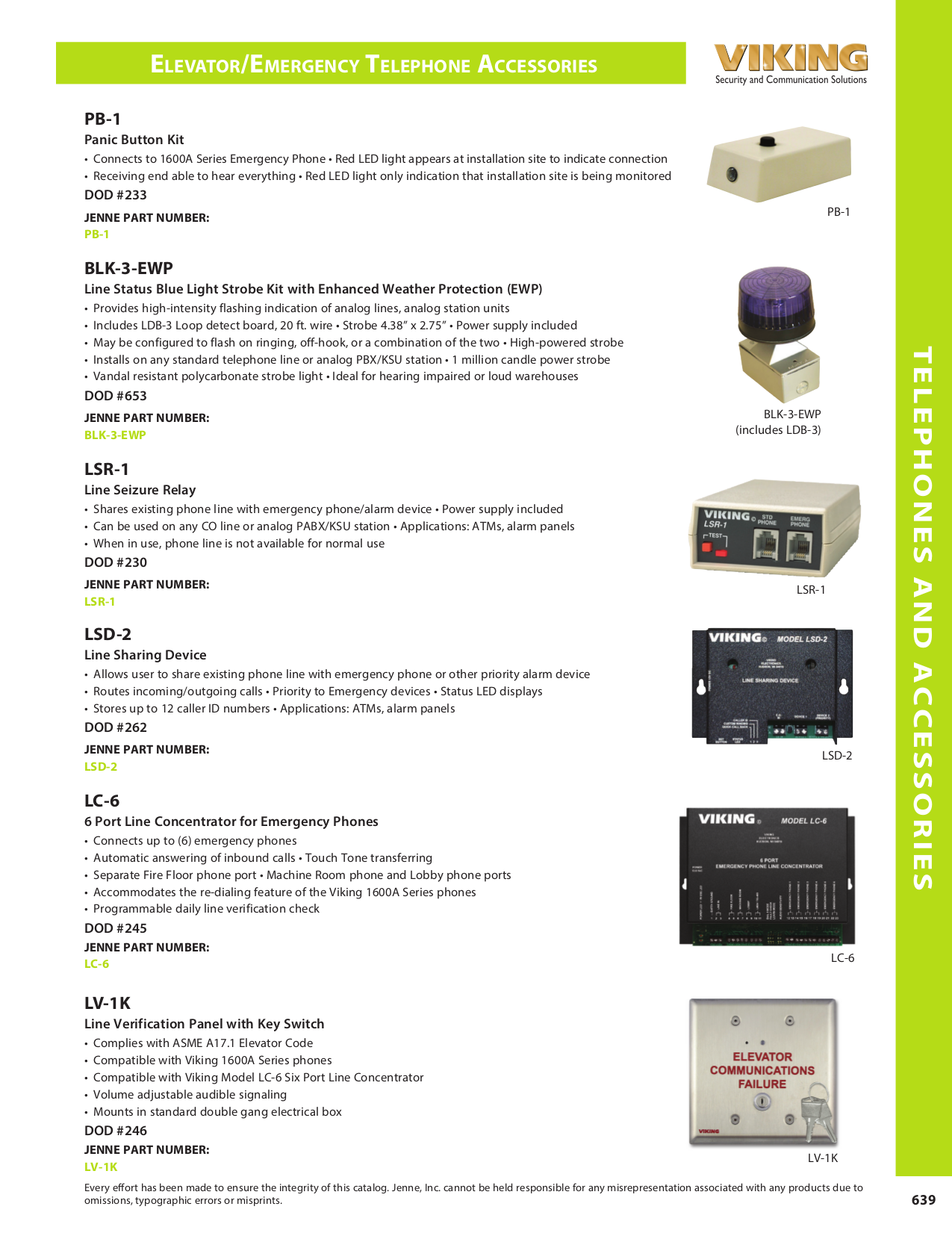 Viking Other K-1500-7 Panel Phones pdf page preview