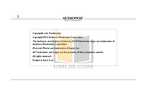 Audiovox Car Receiver ACC-60 pdf page preview