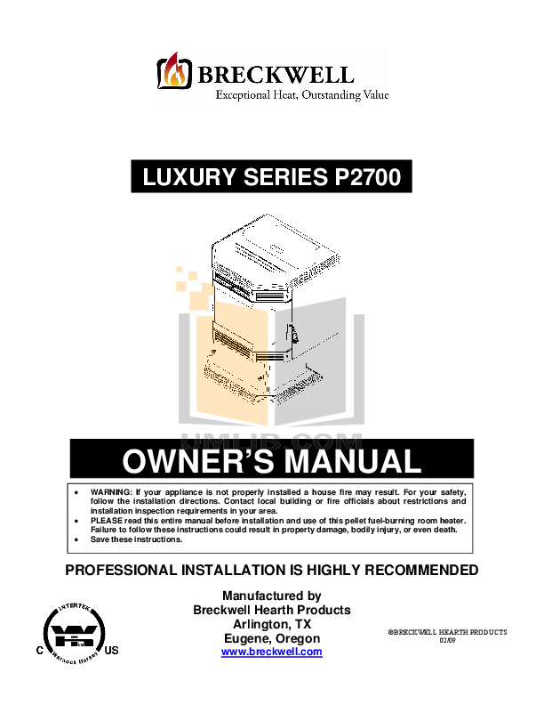 pdf for Breckwell Heating Cooling and Air Luxury P2700FSA manual