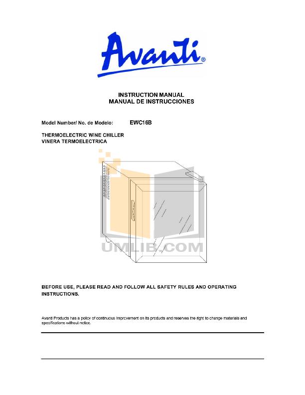 pdf for Avanti Refrigerator EWC16B manual