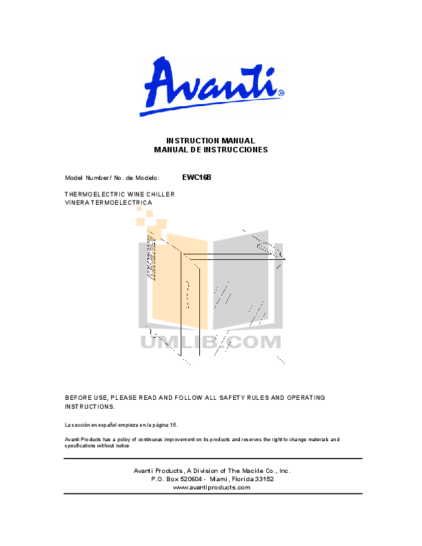 pdf for Avanti Refrigerator EWC16B manual