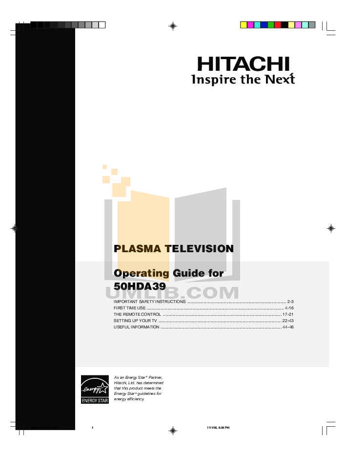 pdf for Hitachi TV 50HDA39 manual