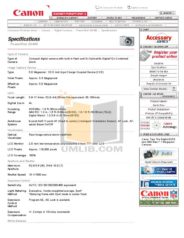 pdf for Canon Digital Camera Powershot SD400 manual