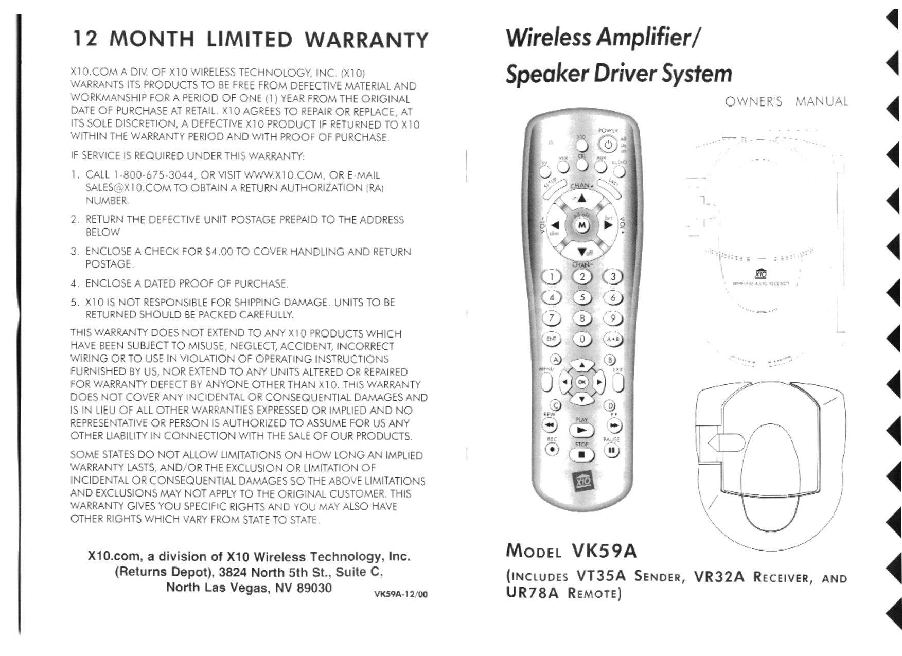 pdf for X10 Speaker VK59A manual