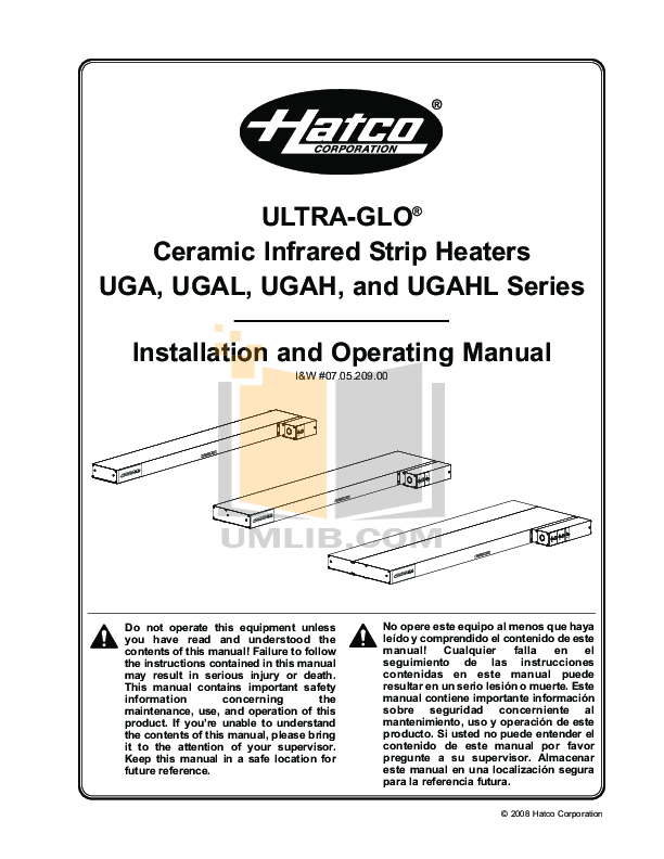 Hatco Other UGA-30D pdf page preview