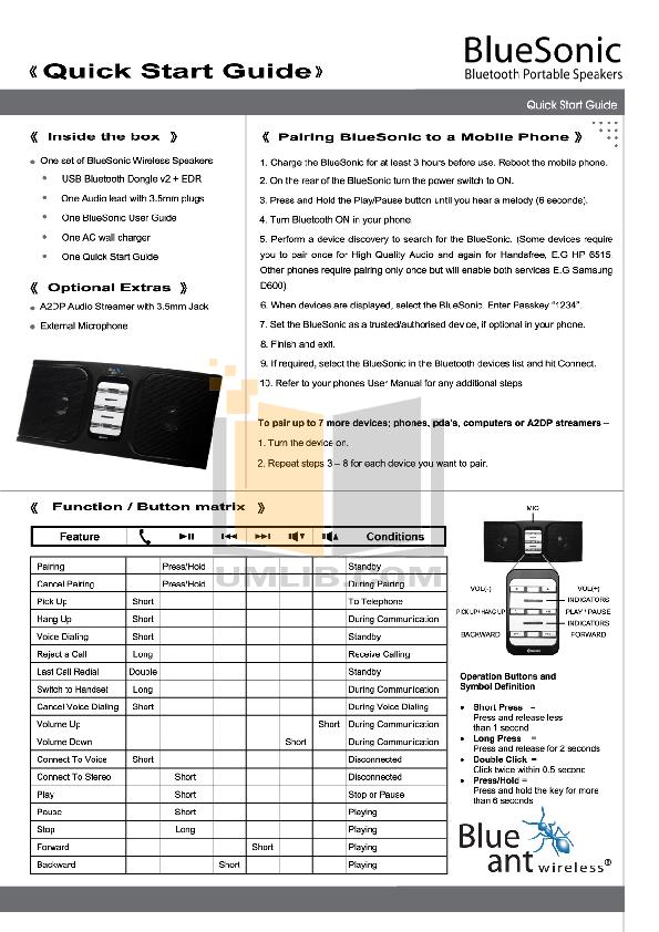 pdf for Blueant Speaker Sonic manual