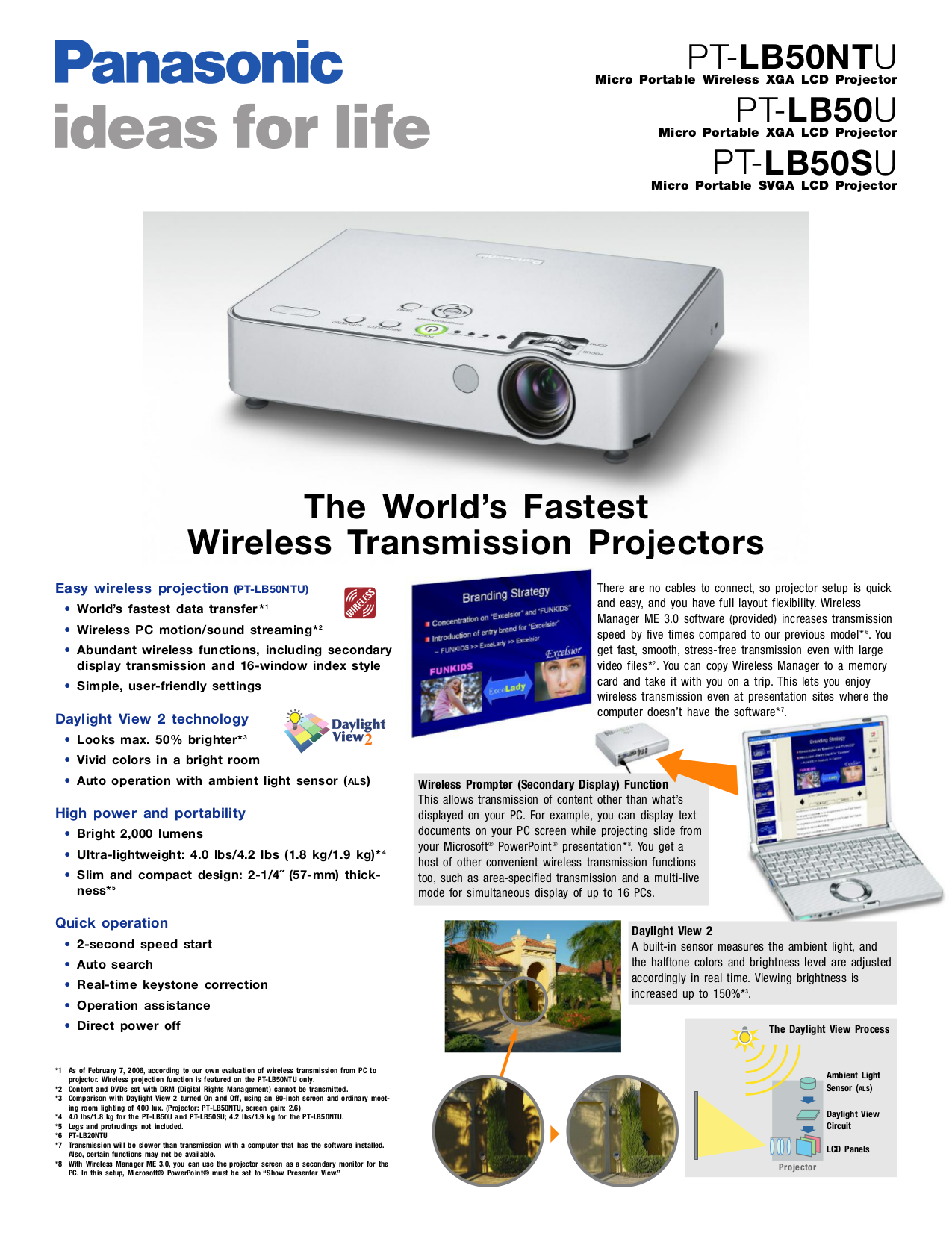 pdf for Panasonic Projector PT-LB50NTU manual
