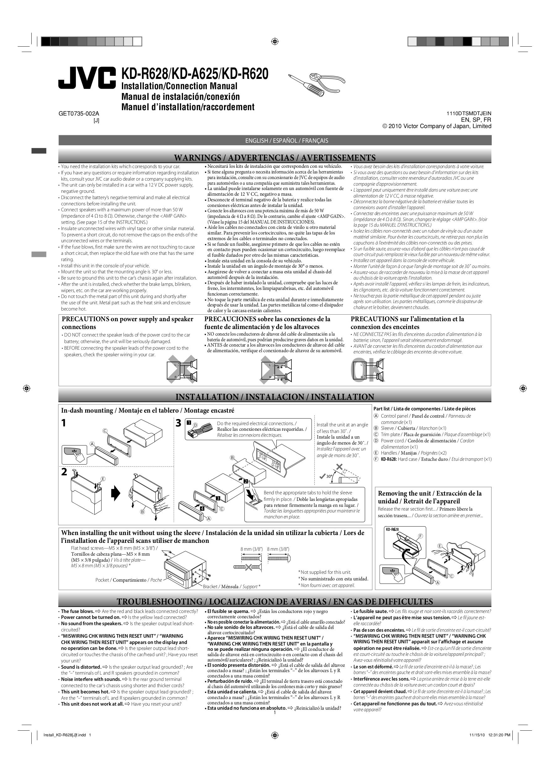 pdf for JVC Car Receiver KD-R620 manual  sc 1 st  UMLIB.com : jvc warning check wiring - yogabreezes.com