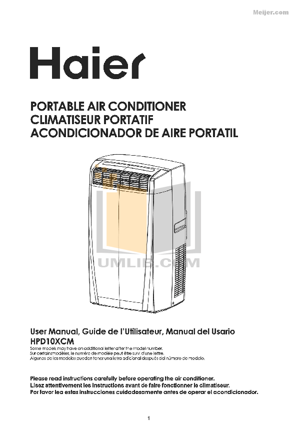 Download free pdf for Haier CPN12XH9 Air Conditioner manual