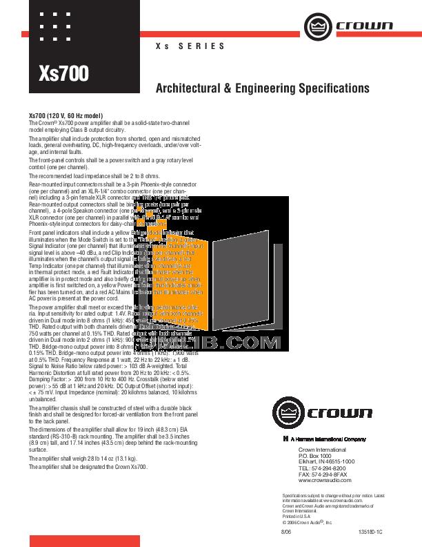 Download free pdf for crown xs700 amp manual.