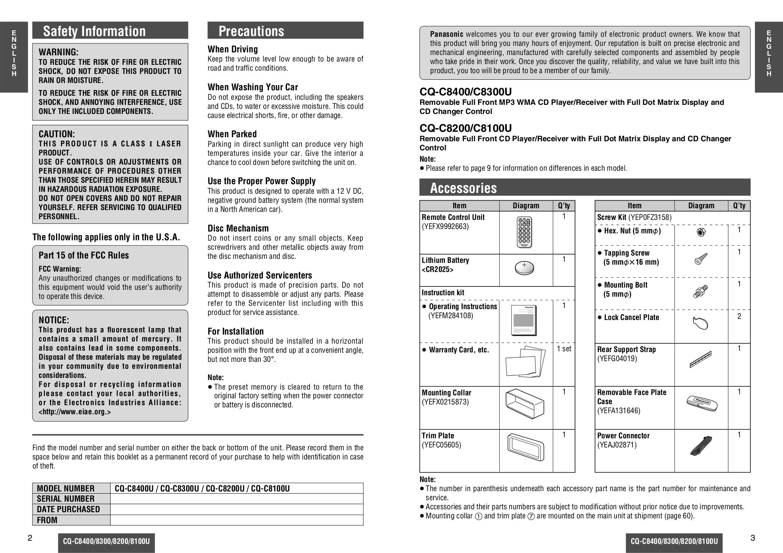 panasonic car receiver cq-c8400u pdf page preview