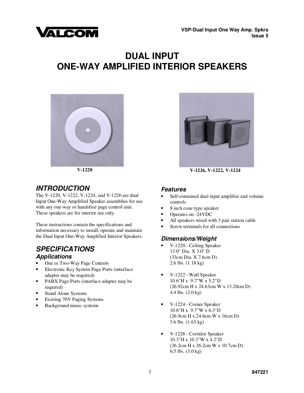pdf for Valcom Speaker V1224 manual