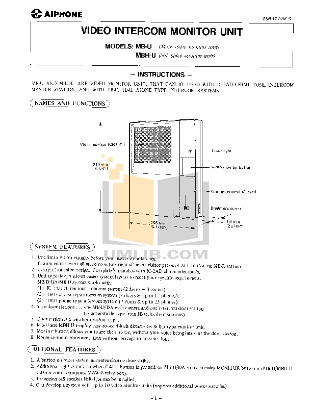 pdf for Aiphone Other TB-3F Intercoms manual