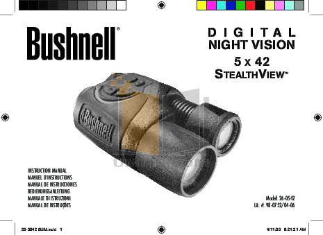 pdf for Bushnell Other 26-0542 Night Vision manual
