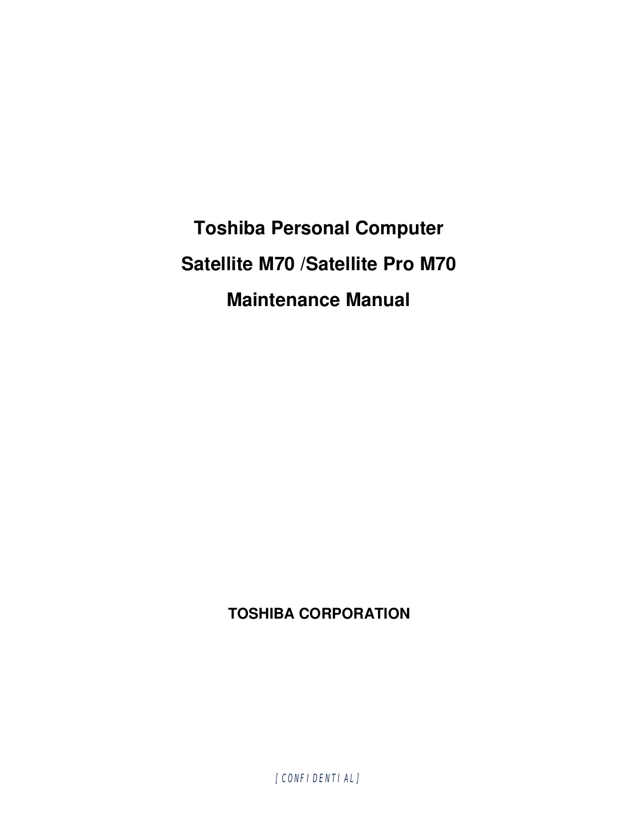 Toshiba Laptop Satellite M70-122 pdf page preview