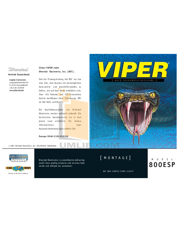 pdf manual for dei other viper 800esp car alarms rh umlib com Clifford Car Alarms Manuals Viper Alarm Parts