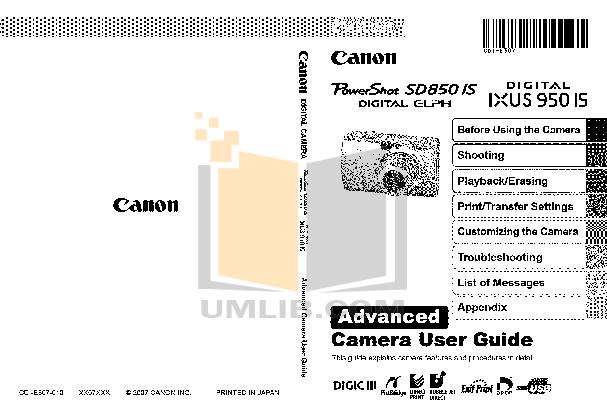 pdf for Canon Digital Camera IXUS 950 IS manual