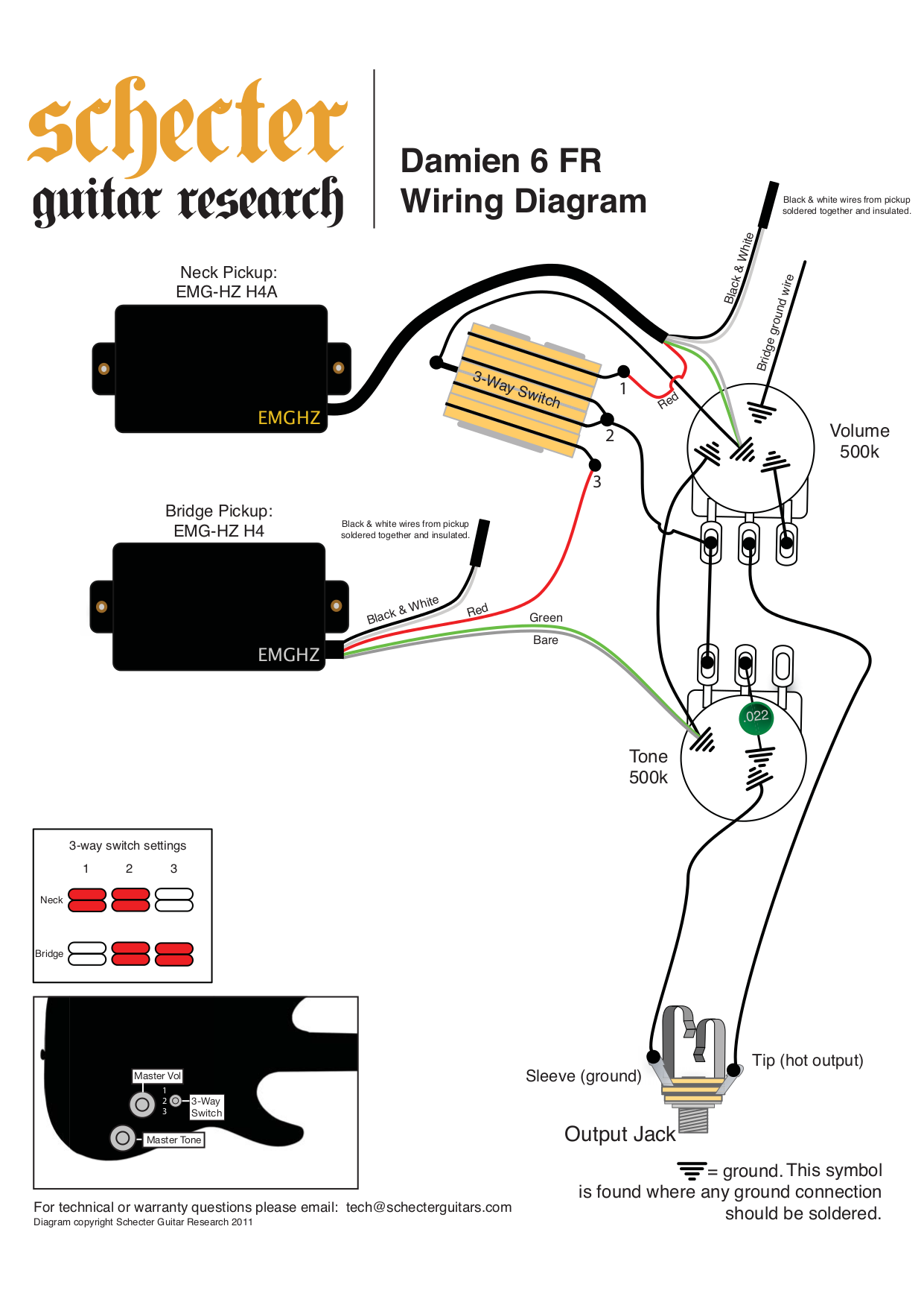 pdf for Schecter Guitar Damien 6 FR manual