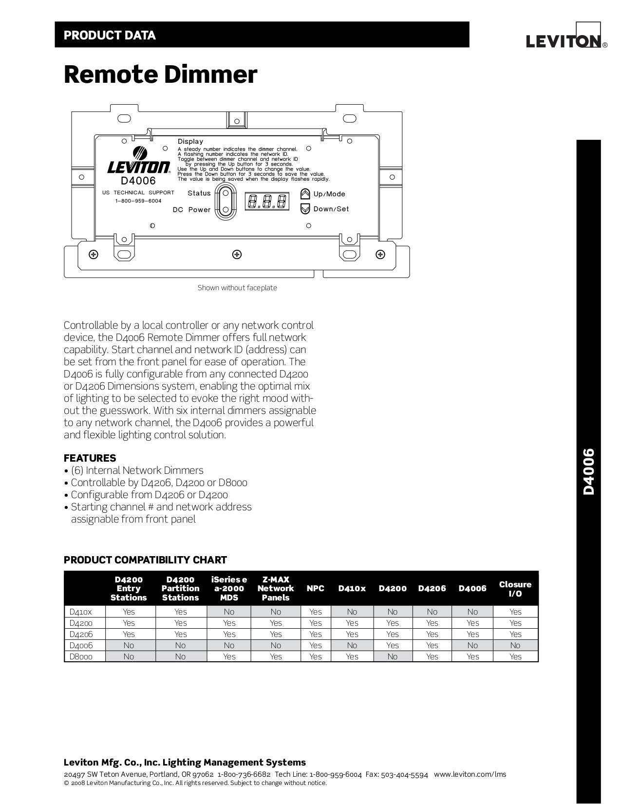 Colorful Leviton Lighting Controls Manual Illustration - Electrical ...