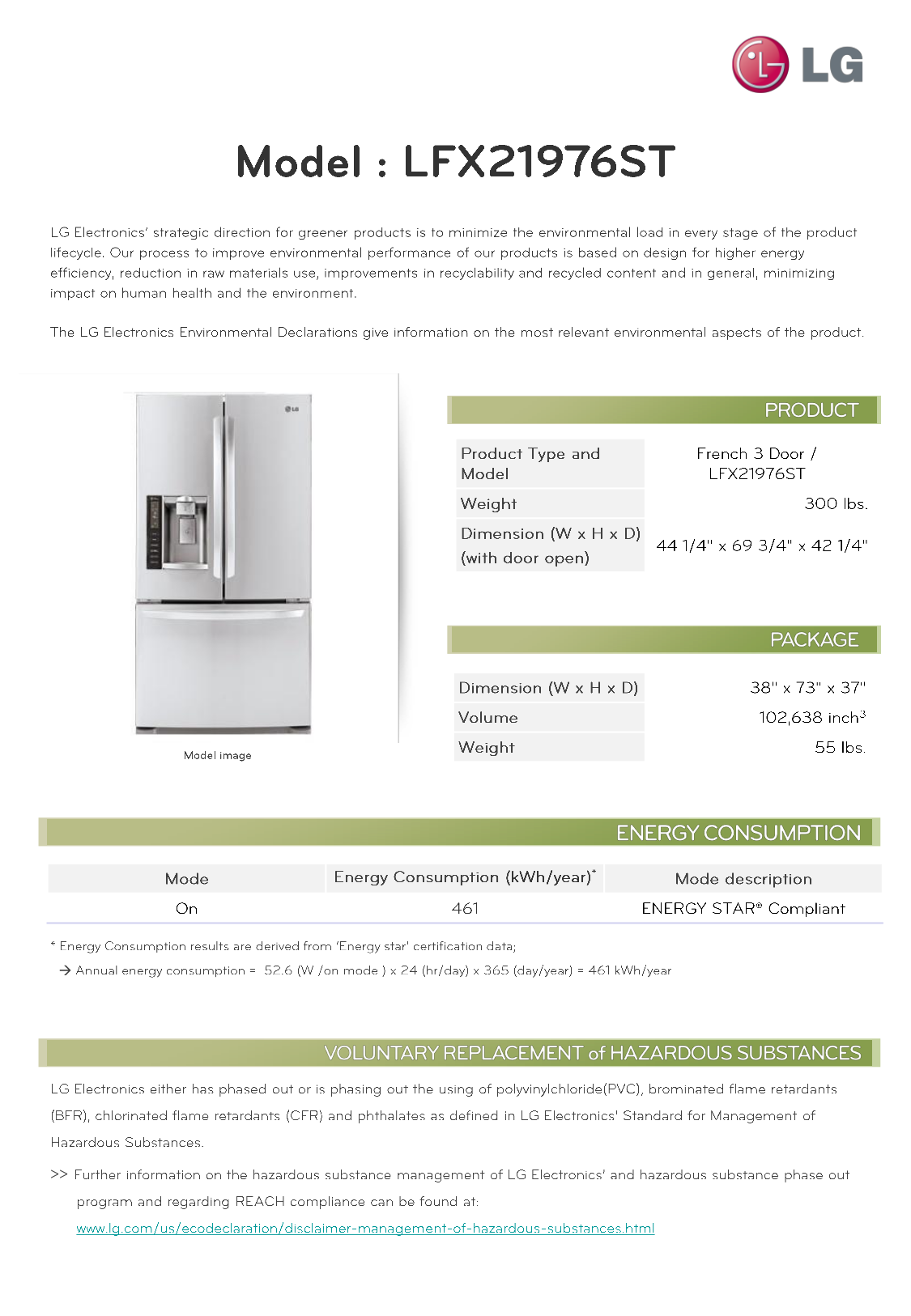 pdf for LG Refrigerator LFX21976ST manual