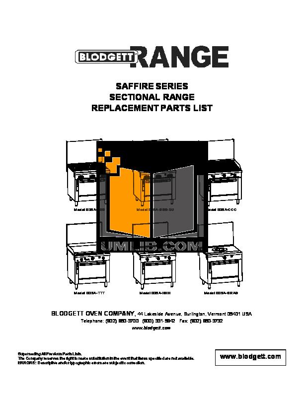pdf for Blodgett Range B24C-BB-SU manual