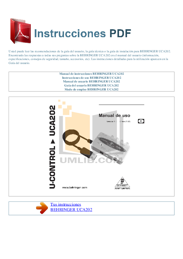 download free pdf for behringer uca202 usb interface other manual. Black Bedroom Furniture Sets. Home Design Ideas