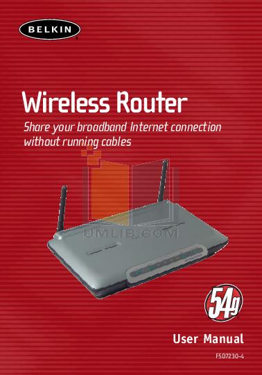 pdf for Belkin Router F5D7130 manual