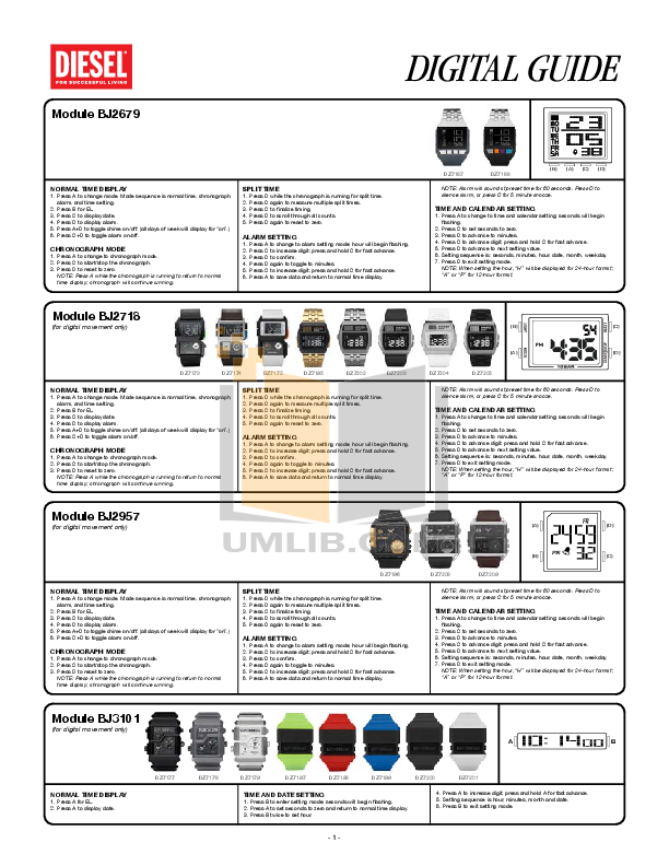 pdf for Diesel Watch DZ7069 manual