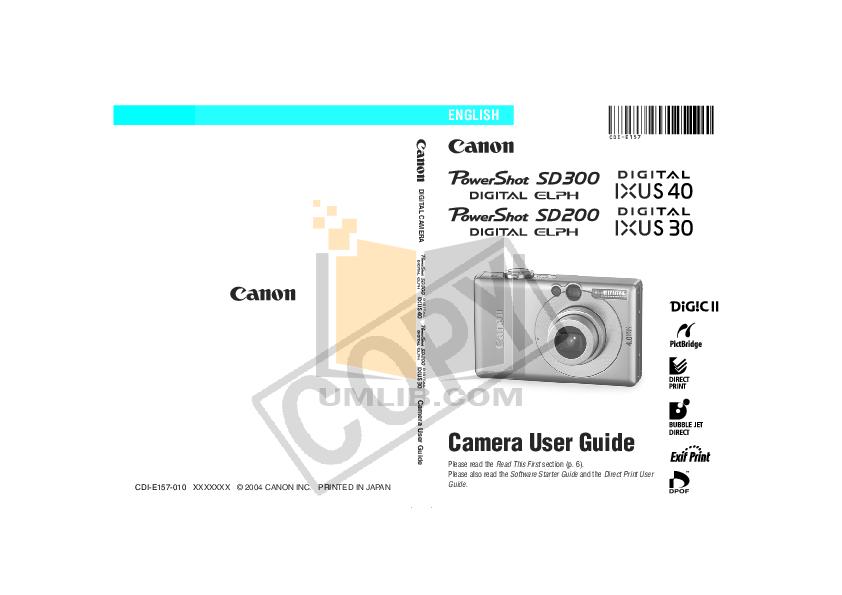 pdf for Canon Digital Camera Powershot SD200 manual