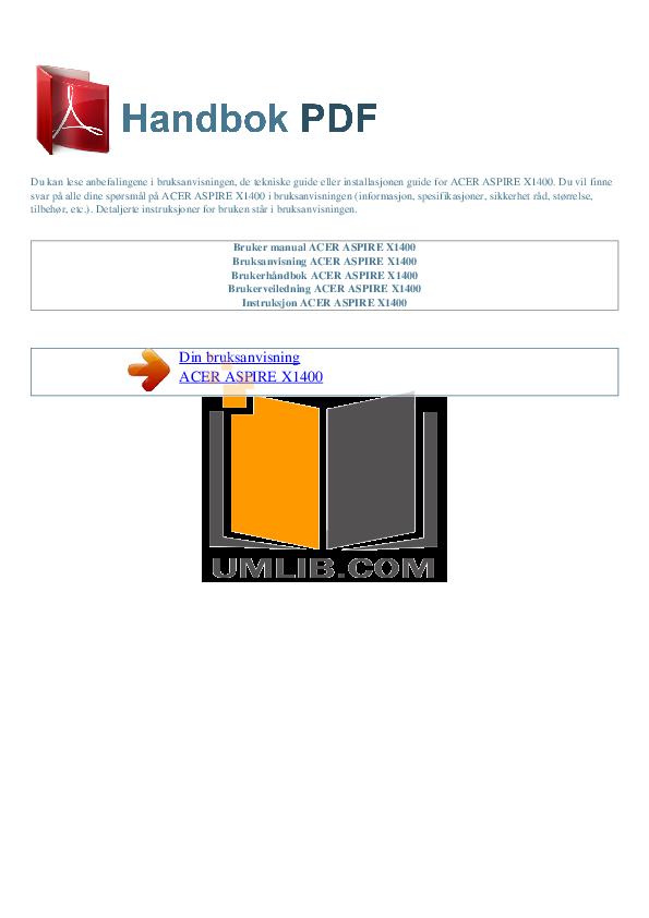pdf for Acer Desktop Aspire X1400 manual