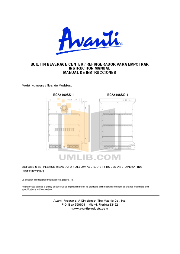 pdf for Avanti Refrigerator BCA5105SG manual