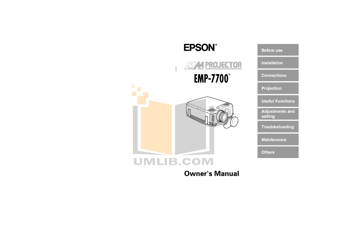 pdf for Epson Projector PowerLite 78 manual