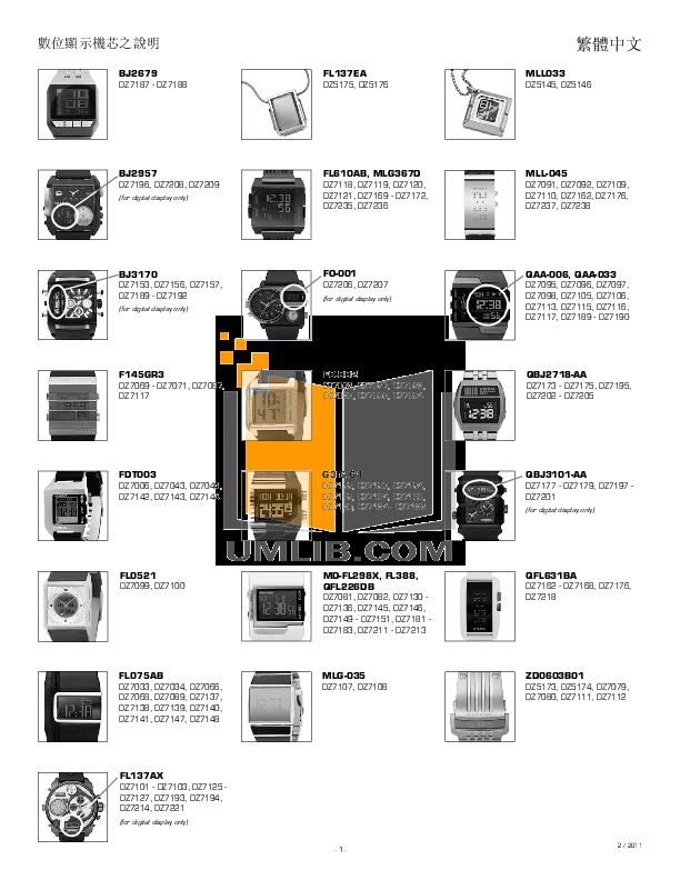 pdf for Diesel Watch DZ7081 manual
