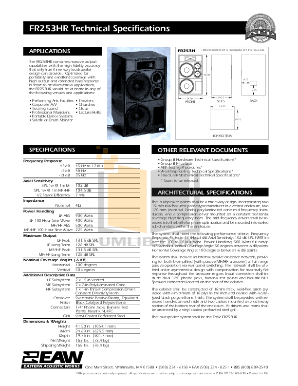 pdf for Eaw Speaker System FR253HR manual