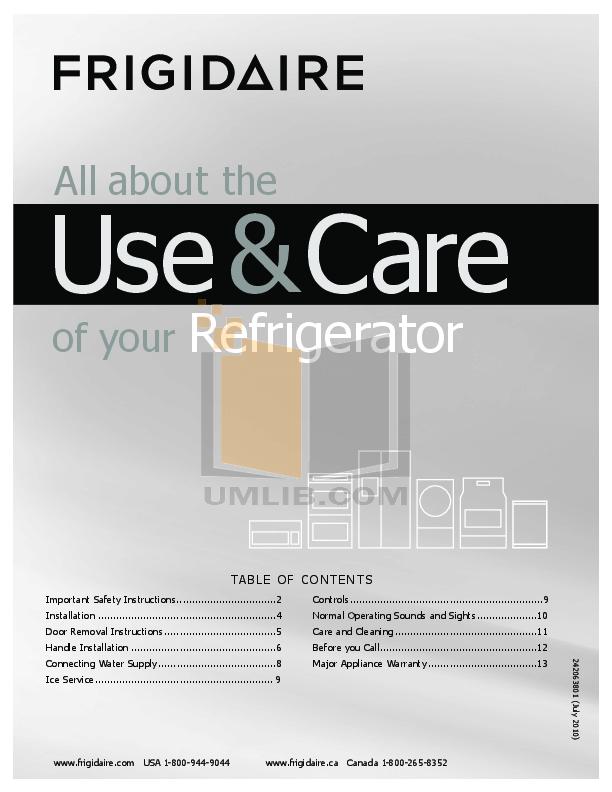 pdf for Frigidaire Refrigerator FFHT1725LK manual