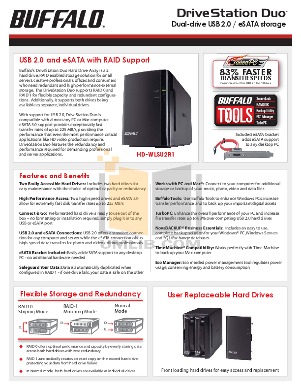 pdf for Buffalo Storage HD-WL2TSU2R1 manual