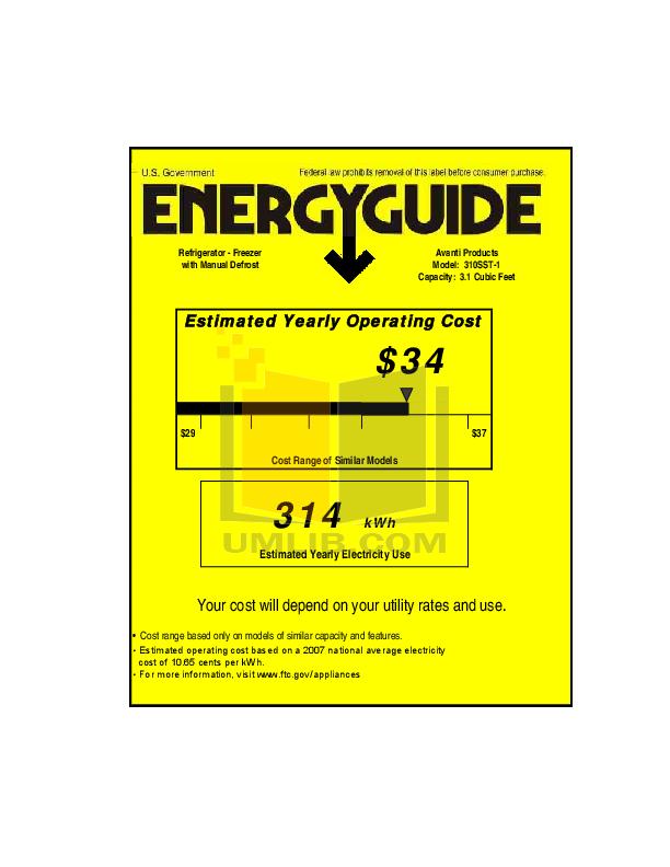 pdf for Avanti Refrigerator 310SST manual