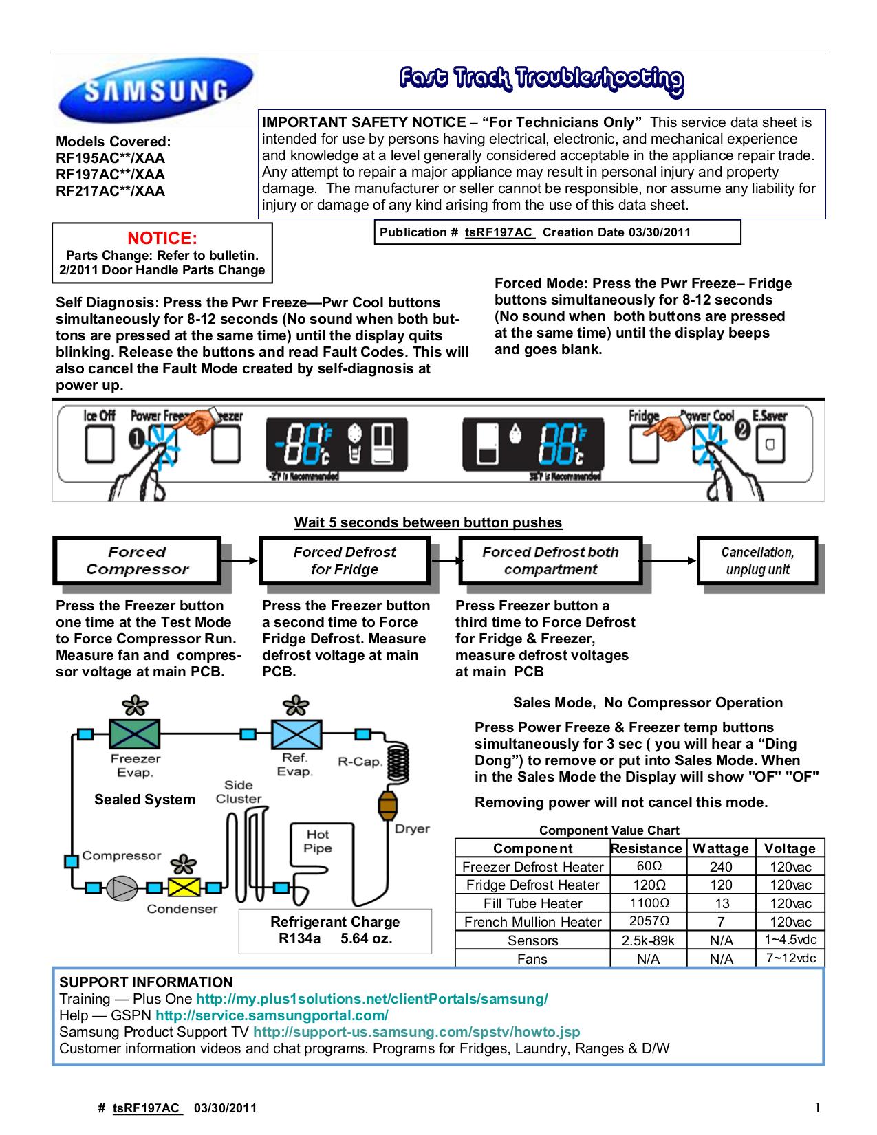 pdf for Samsung Refrigerator RF197AC manual