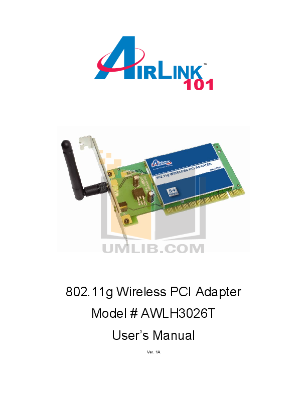 pdf for Airlink Other AWLH3026 Adapters manual