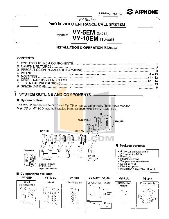 pdf for Aiphone Other VY-10EM Intercoms manual