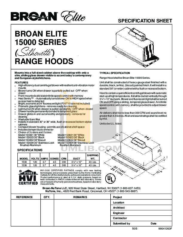 pdf for Broan-NuTone Other 153604 Hoods manual