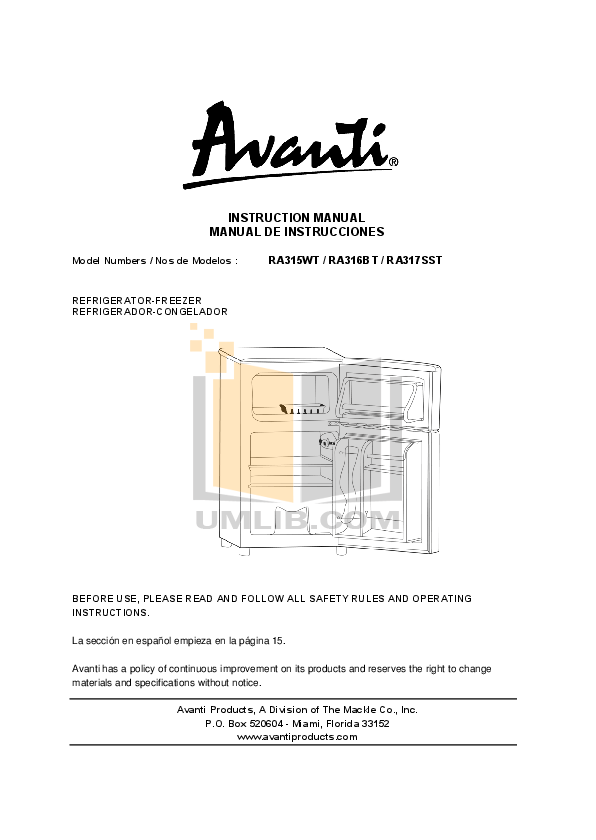pdf for Avanti Refrigerator RA317SST manual