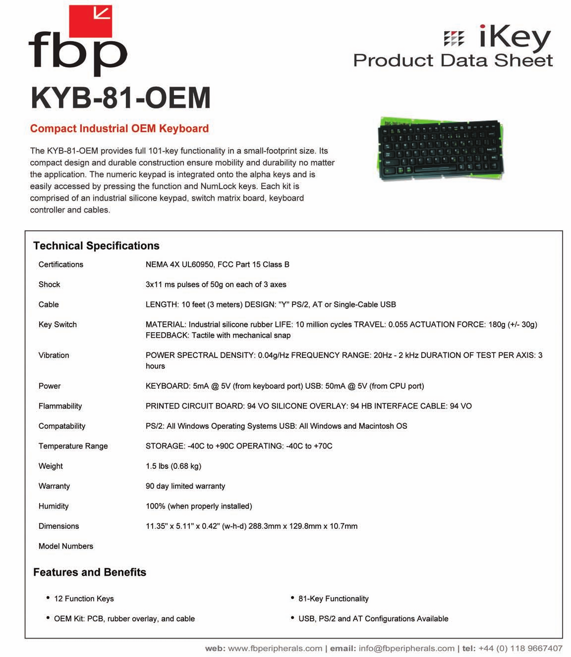 pdf for iKey Keyboard KYB-81-OEM manual