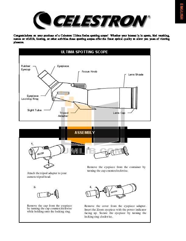 pdf for Celestron Other Ultima 52253 Spotting Scope manual