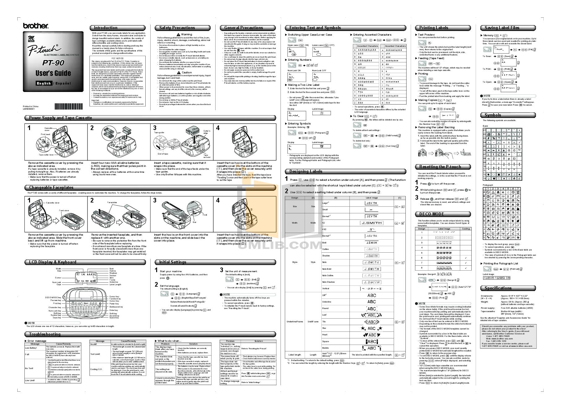 pdf for Brother Printer PT-85 manual