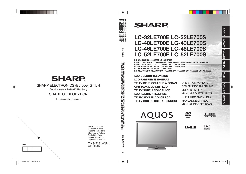 Sharp lc 32le510ru инструкция скачать