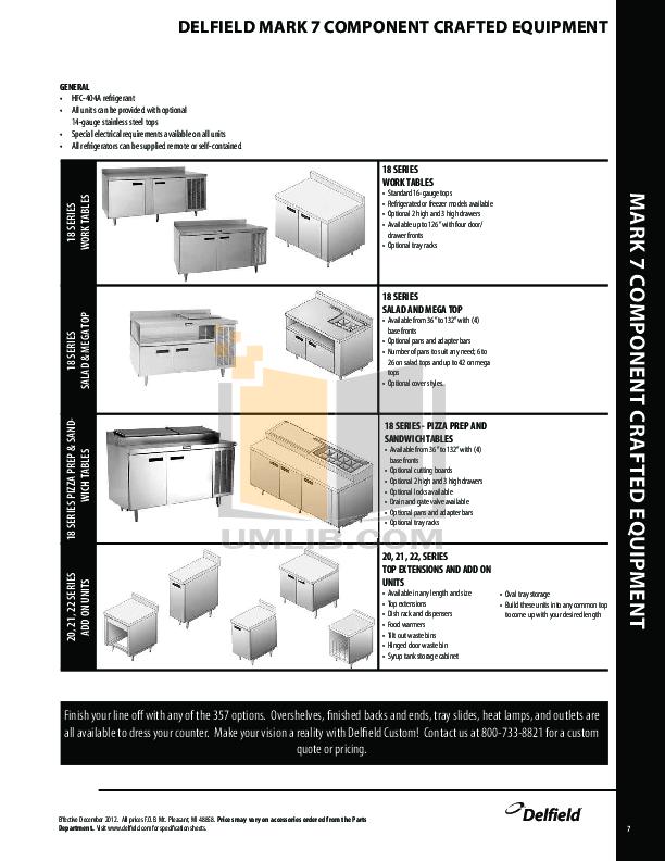 Delfield Refrigerator Shelleyspeed SPRD60P-74NE pdf page preview