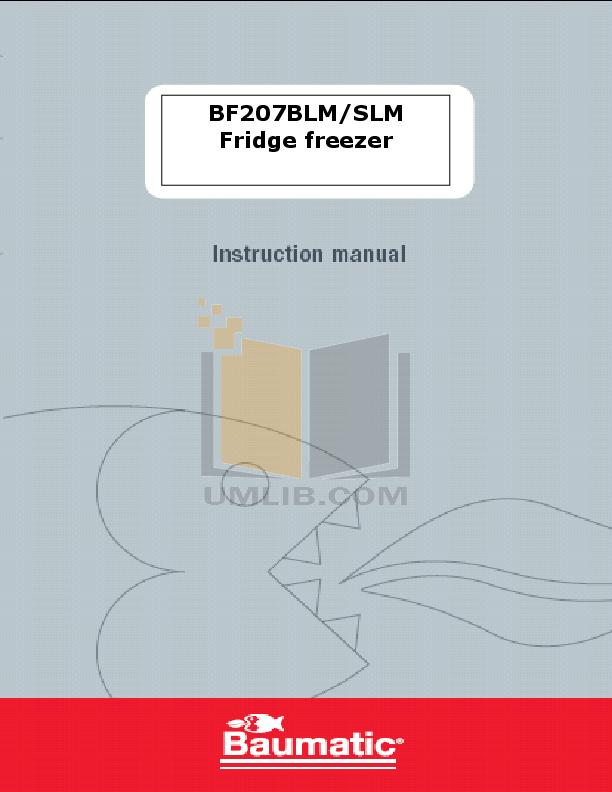 pdf for Baumatic Freezer BF207BLM manual